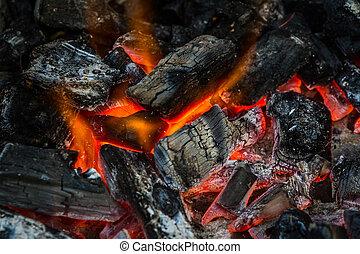 grilling., cibo, fuoco, carbonella