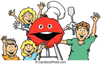 Grilling Family - Vector cartoon of a family with a smiling...