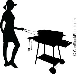 Grilling-figure of a woman standing by the grill