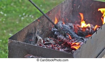 Grilling marinated pork meat with onion on grill grate on...