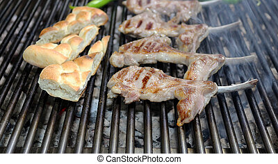 Grilling Meat on Barbecue