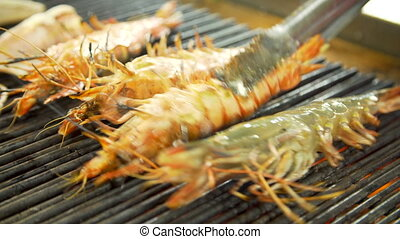 Grilling shrimps on an open fire - Grilling shrimps over an...
