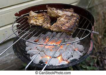 Grilling spare ribs on bbq