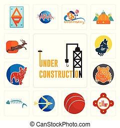 grillo, set, costruzione, icone, fuoco, bulldog, sagittario, scheletro, francese, bengala, ululando, antilope, tiger, sotto, stazione, lupo, palla, fish