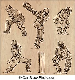 grillon, sport, collection., cricketers., une, main, dessiné, vecteur, pack.