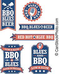 grillsütő, blues, jelvény