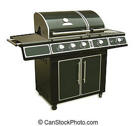 grillsütő, gáz, elszigetelt, grill