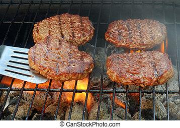grillsütő, hamburger, fricskázó