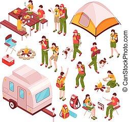 grillsütő, isometric, piknik, ikonok