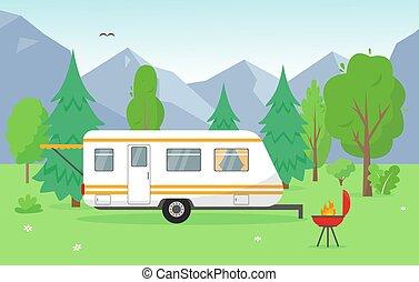 grillsütő, kúszónövény, kempingezés, hegyek