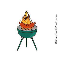 grillsütő, kolbász, láng