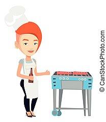grillsütő, nő, grill., főzés, hússzelet