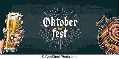 grillsütő, oktoberfest, festival., hím, birtok, sör, grill...