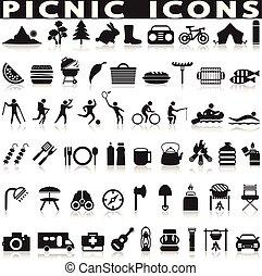 grillsütő, piknik, icons., háló