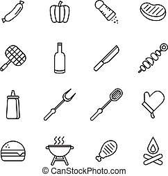 grillsütő, piknik, ikonok