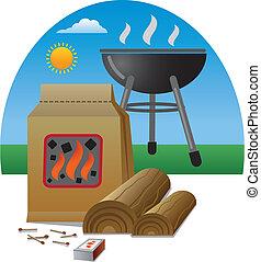 grillsütő, tűzifa