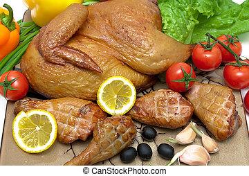 grillte gemüse, zitrone, huhn, köstlich
