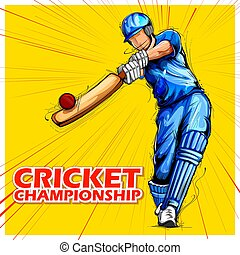 grilo, batsman, tocando, campeonato, esportes