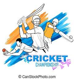 grilo, batsman, tocando, campeonato