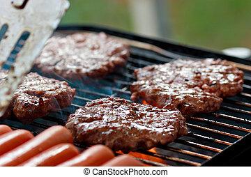 grilování, burgers, a, horlivý šlapat na paty