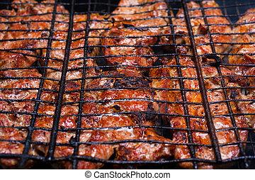 grilovaný, gril, maso