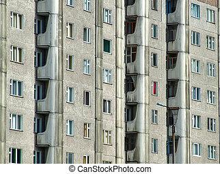 Grim apartment block in Russia - Communist era relic -...