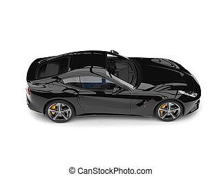 Grim black modern sports concept car - top down side view