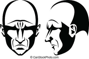 Grim man - Stylized portrait and profile of a grim bald man