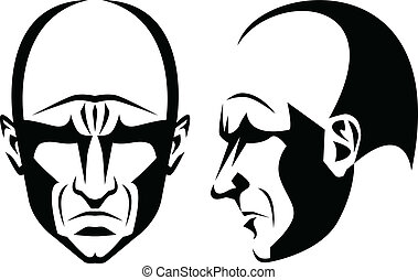 Stylized portrait and profile of a grim bald man