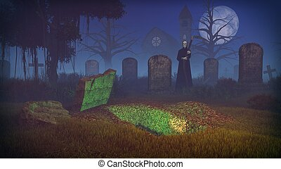 Grim reaper and empty grave at spooky cemetery
