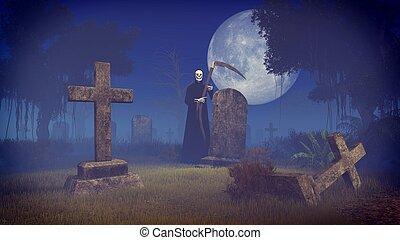 Grim reaper at spooky night cemetery