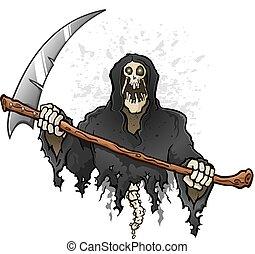 Grim Reaper Cartoon Character Holding a Death Scythe