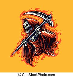grim reaper cartoon illustration