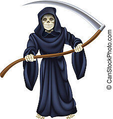 An illustration of a grim reaper death character holding a scythe