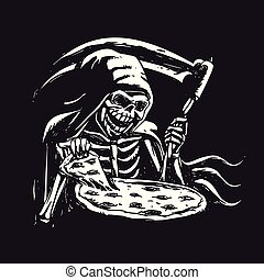 Grim reaper eating pizza - black and white. Vector ...