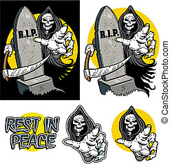 GRIM REAPER - grim reaper with tombstone