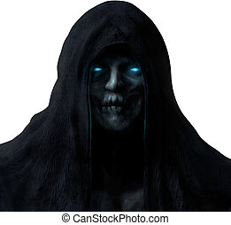 Grim reaper ghost face isolated.