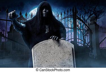 Grim reaper ghost on cemetery.