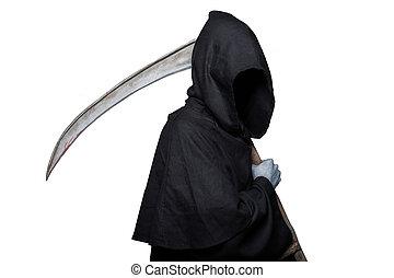Grim reaper. Halloween. Death - Grim reaper. Studio portrait...