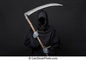 Grim reaper. Halloween. Death - Death reaper over black...