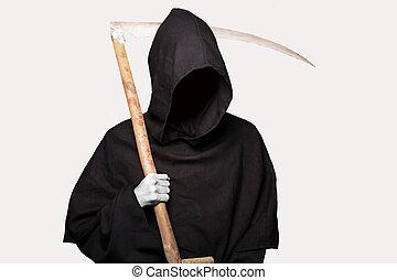 Grim reaper. Halloween - Grim reaper. Studio portrait...