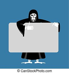 Grim reaper holding banner blank. death and white blank. skeleton in black cloak joyful emotion. Monster and place for text. Vector illustration