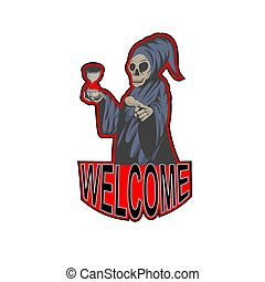 grim reaper holding hourglass and pointing you