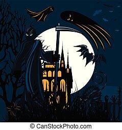 Grim reaper holding sickle on Halloween - Grim reaper...