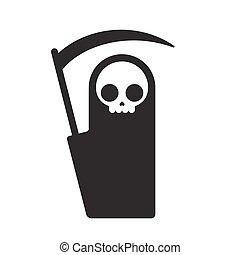 grim reaper illustration - Symbolic Grim Reaper, simple flat...