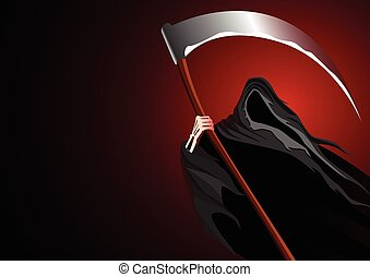 Grim Reaper - Graphic illustration of a grim reaper on dark...