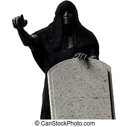 Grim reaper in black hood isolated.