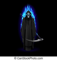 Grim Reaper in blue flame over black baclground