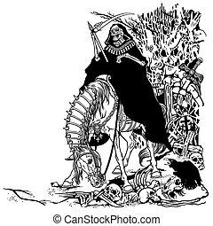grim reaper in cemetery - grim reaper symbol of death and...