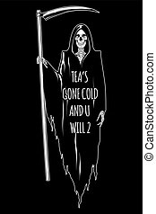 Grim Reaper with the scythe posing isolated vector illustration. Hand drawn gothic style placard, poster or print design
